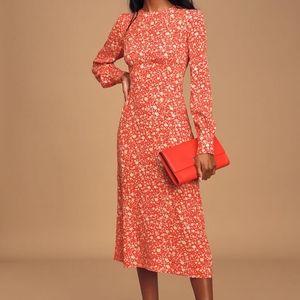 Lulus Grow Together Floral Long Sleeve Midi Dress
